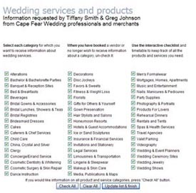 Click for larger view of customer category selection form